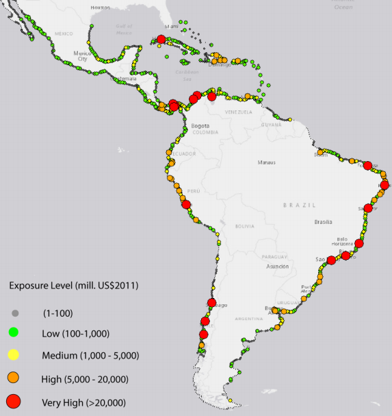 Effects of climate change on exposure to coastal flooding in Latin America and the Caribbean